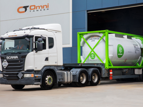 An OmniTAINER purchased by a global leasing giant leaves Omni Tanker's factory en route to Germany.